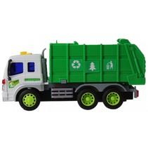 vuilniswagen met geluid groen/wit 25 cm