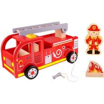 brandweerauto jongens 29,5 cm hout rood 3-delig