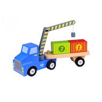 vrachtwagen met hijskraan jongens 36 cm hout 4-delig