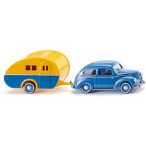 miniatuurauto en caravan Ford Taunus G73A 1:87 blauw/geel