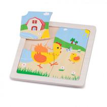 mini puzzel kip junior 15 cm hout