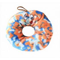 knuffel donut junior 15 cm pluche oranje/blauw