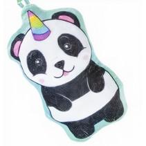 knuffelhanger panda junior 13 cm pluche zwart/wit