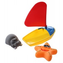 badbootje geel/rood 14 cm met 2 dieren