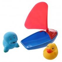 badbootje blauw/roze 14 cm met 2 dieren