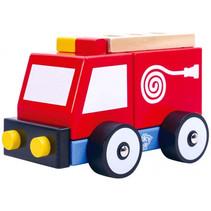 brandweerauto jongens 13 cm hout rood 3-delig