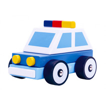 politieauto jongens 12,5 cm hout blauw/wit 3-delig