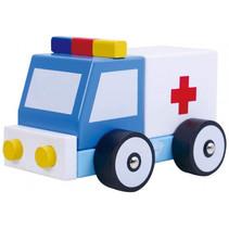 ambulance jongens 13 cm hout blauw/wit/geel 3-delig