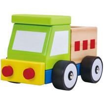 vrachtwagen jongens 13 cm hout groen/blank 3-delig