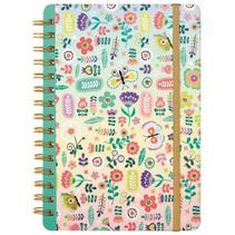 notitieboekje bloemen meisjes papier roze/multi 15 cm
