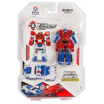 transformer Robot 13,5 cm blauw/rood 2-delig