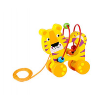 trekfiguur tijger 13 x 8,5 x 14 cm hout geel