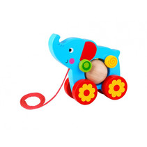 trekfiguur olifant 15 x 5,5 x 14,5 cm hout blauw/rood