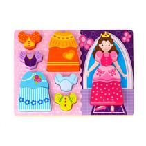vormenpuzzel prinses 30 cm hout paars/roze 11-delig