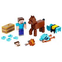 speelset Minecraft Comic Maker jongens 20 cm bruin/blauw