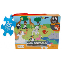 vloerpuzzel Zoo Animals 60 x 44 cm karton 35 stukjes