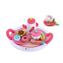theeservies-set meisjes hout roze/wit 19-delig