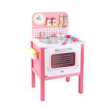 speelgoedkeuken meisjes 39,5 x 68 cm hout roze 10-delig