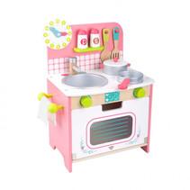speelgoedkeuken meisjes 34 x 43 cm hout roze 10-delig