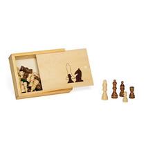 schaakstukken 65 mm hout blank/bruin 33-delig