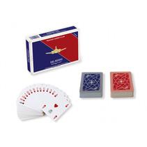 speelkaarten double-deck 8,8 x 6,3 cm PVC blauw/rood