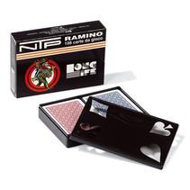 speelkaarten Ramino karton rood/blauw 2-delig