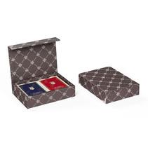speelkaarten met houder Prestige textiel bruin 3-delig