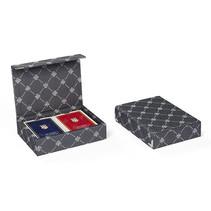 speelkaarten met houder Prestige textiel grijs 3-delig