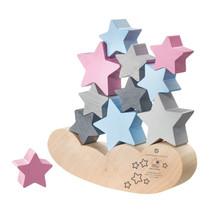 decoratie Sterrenhemel hout 17,5 cm naturel/roze/grijs