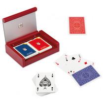 speelkaarten met houder Dibond hout rood 3-delig