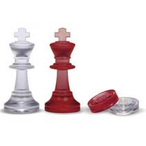 schaakstukken en damschijven 75/28 mm rood/transparant