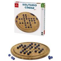 Chinees bordspel 30 cm hout beige/donkerblauw 2-delig