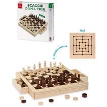 schaakspel 31 x 30,5 cm hout beige/donkerbruin