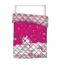 dekbedovertrek meisjes 140 x 200 cm polyester roze/wit