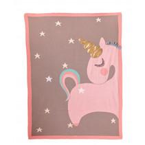 deken eenhoorn meisjes 140 cm katoen roze/grijs