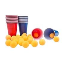 beer pong kunststof bekers en ballen 48-delig