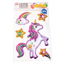 dikke stickers Unicorn 25 x 15 cm folie wit 4-delig