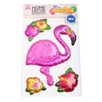 dikke stickers Flamingo 25 x 15 cm folie roze 4-delig
