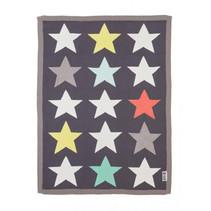 deken Stars 70 x 90 cm katoen zwart/grijs