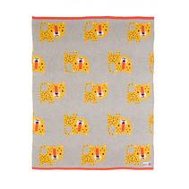 deken luipaard 75 x 100 cm katoen grijs/geel