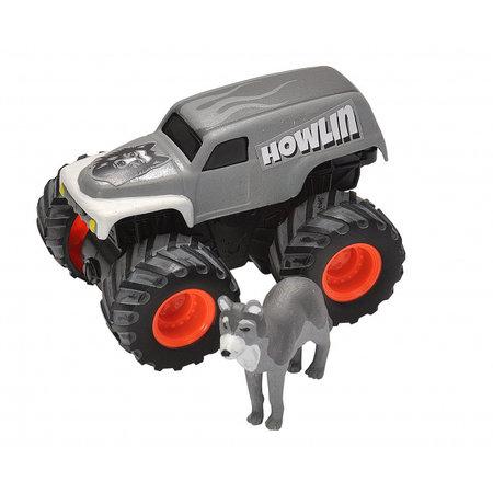 Wild Republic speelset truck en wolf junior grijs 2-delig