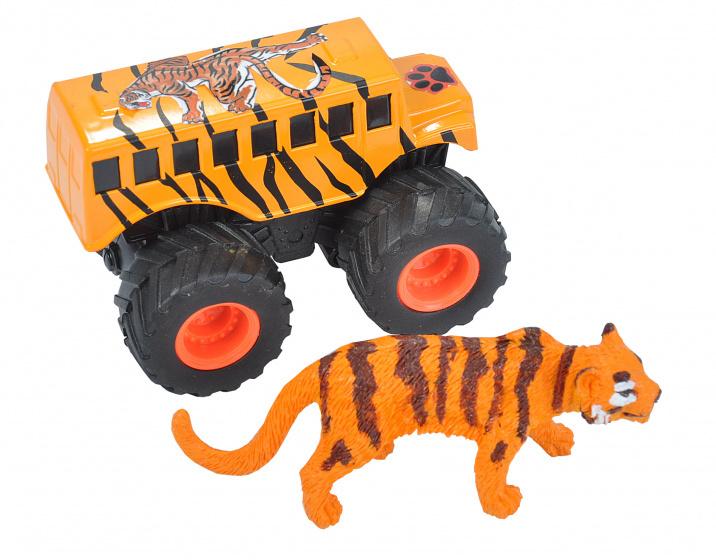 Wild Republic speelset truck en tijger junior oranje 2-delig