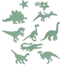 muurstickers Dino glow-in-the-dark 9 cm groen 24-stuks