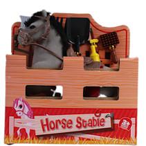speelset paard junior 15 cm polyester grijs 2-delig