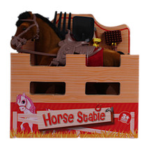 speelset paard junior 15 cm polyester bruin 2-delig