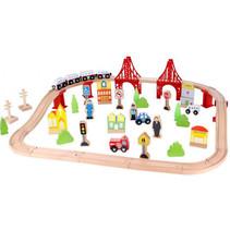 speelset trein junior 90 x 40 x 12 cm hout 55-delig