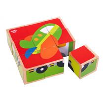 blokkenpuzzel voertuigen 13,5 x 4,5 cm hout 9-delig