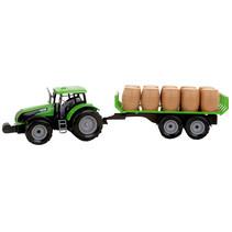 tractor met oplegger jongens 47 cm groen