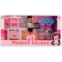 tienerpop Modern Kitchen brunette 15 cm roze 11-delig
