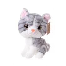 knuffel poes junior 22 cm pluche grijs/wit